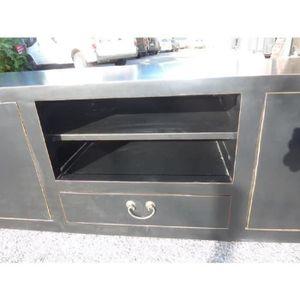Meuble tv bois achat vente meuble tv bois pas cher for Meuble 4 portes noir laque