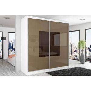 beauty 2 armoire 218 200 60 couleur blanc mat brun clair blanc laqu haute brillance achat. Black Bedroom Furniture Sets. Home Design Ideas
