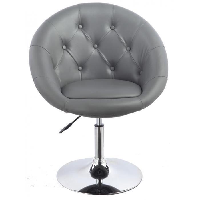 Fauteuil lounge pivotant cuir gris 1109005 achat vente fauteuil cuir aci - Fauteuil pivotant gris ...
