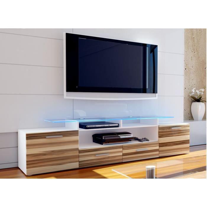 Meuble tv blanc et bois nervur 194 cm achat vente for Meuble tv blanc plateau bois
