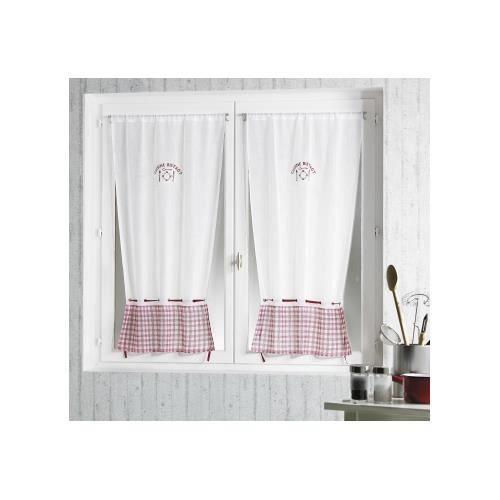 vitrage imprim 39 cuisine bistrot 39 blanc 70x120 cm achat vente rideau 100 polyester cdiscount. Black Bedroom Furniture Sets. Home Design Ideas