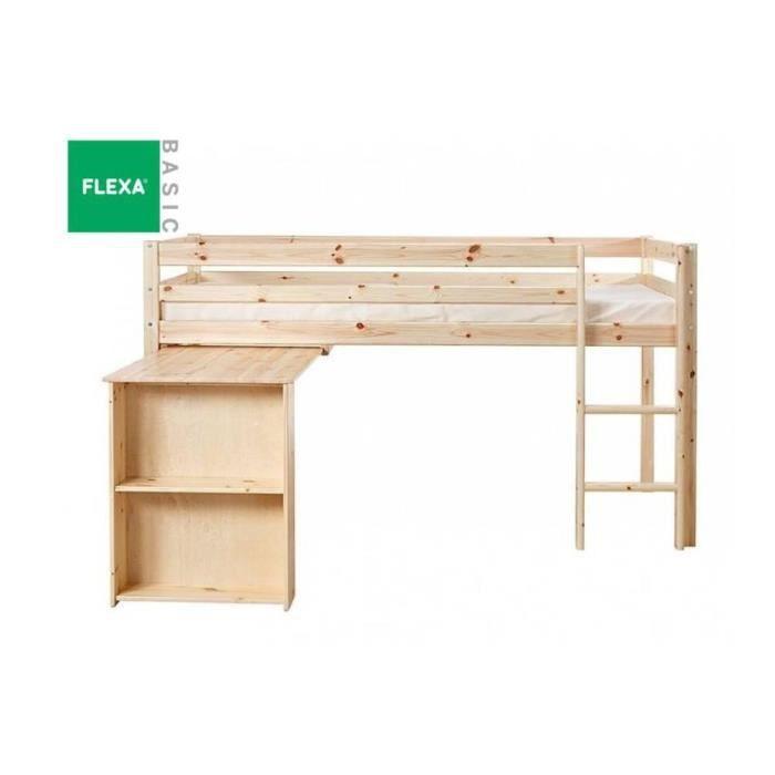 Lit mi haut flexa avec bureau en pin vernis nat achat vente lits super - Lit mi hauteur avec bureau ...