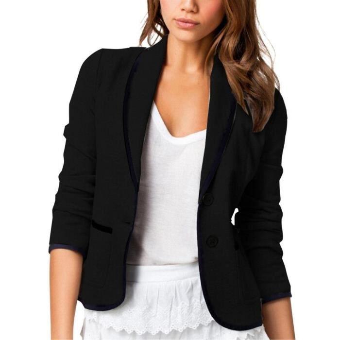 blazer veste manches longues pour femme noir noir achat. Black Bedroom Furniture Sets. Home Design Ideas