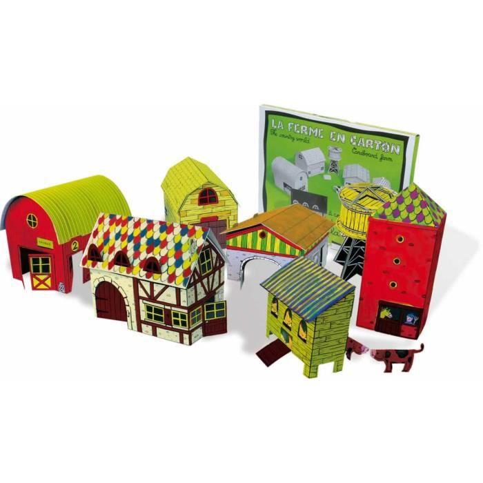 Maison de poup e de la ferme en carton a peindre carle for Maison a peindre