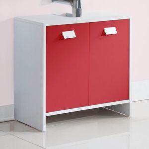 MEUBLE VASQUE - PLAN TOP Meuble sous-vasque L 60 cm - Blanc et rouge