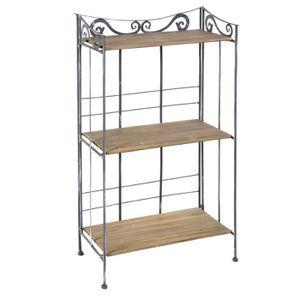etagere bois metal achat vente etagere bois metal pas cher les soldes sur cdiscount. Black Bedroom Furniture Sets. Home Design Ideas