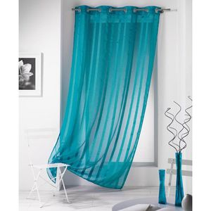 Voilage bleu turquoise achat vente voilage bleu turquoise pas cher cdiscount - Rideau voilage bleu turquoise ...