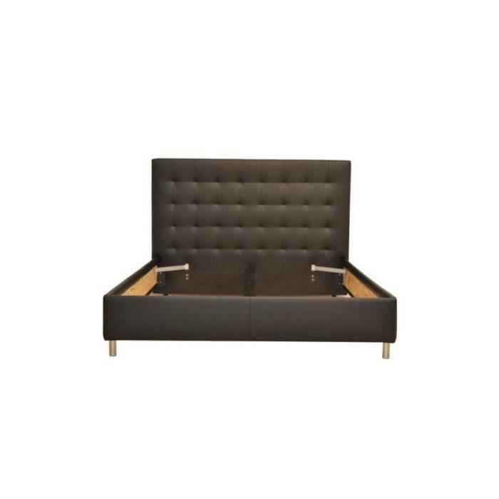 lit 160x200 simili cuir noir achat vente structure de. Black Bedroom Furniture Sets. Home Design Ideas