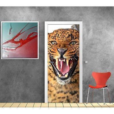 papier peint porte l opard 845 dimensions 73x204cm achat vente papier peint cdiscount. Black Bedroom Furniture Sets. Home Design Ideas