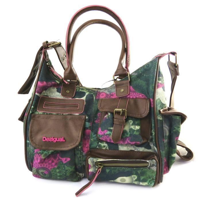desigual m2967 sac besace desigual vert rose vert achat vente besace sac reporter. Black Bedroom Furniture Sets. Home Design Ideas