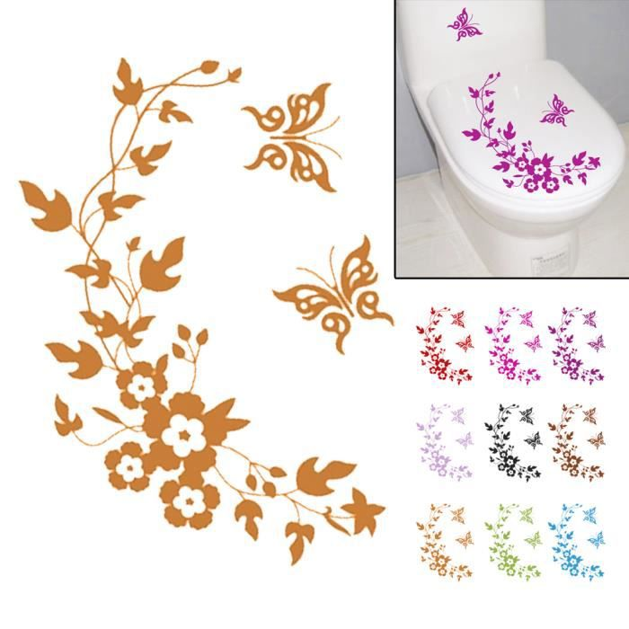 Salle de bains toilettes papillon fleur decor seat - Decoration murale salle de bain ...
