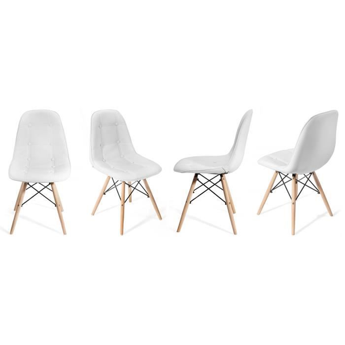 Lot de 4 chaises pu akland blanc design nordique - Lot de 4 chaises design ...