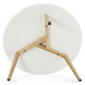 Table plateau rond blanc achat vente table plateau for Table basse scandinave avec plateau