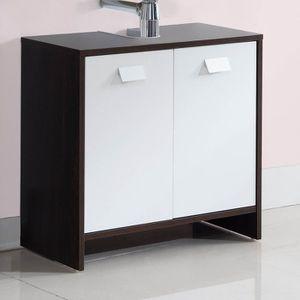 MEUBLE VASQUE - PLAN TOP Meuble sous-vasque L 60 cm - Wengé et blanc