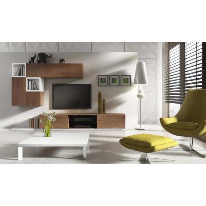 Meuble télé 2 tiroirs Placage naturel chêne Meuble haut et ...