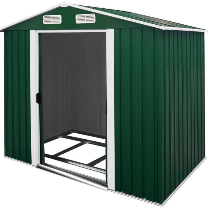 Abri de jardin en m tal 8 38m cabane rangement achat for Cabane de rangement pour jardin