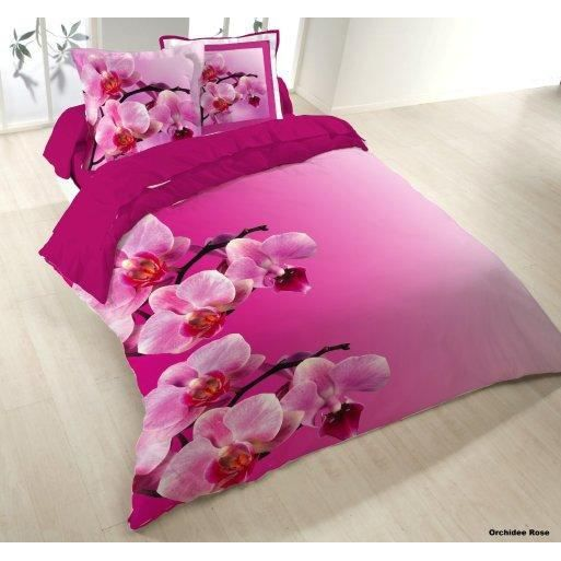 Housse couette 200x200cm 2 taies orchidee rose achat for Housse de couette h m
