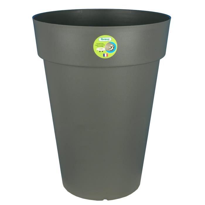 Riviera pot soleilla diam tre 50 x hauteur 66 cm gris for Jardiniere hauteur 1 metre
