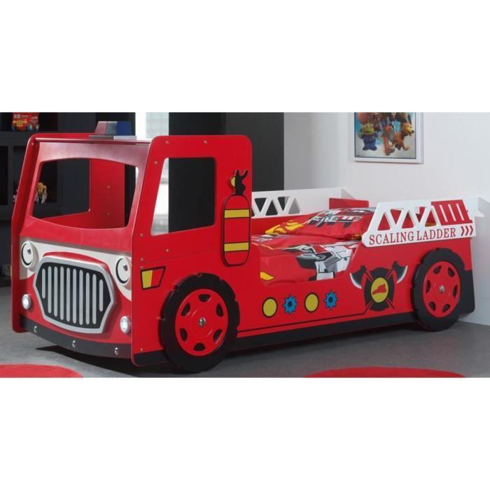 Fun lit enfant camion pompier rouge achat vente lit complet fun lit camio - Lit superpose camion de pompier ...