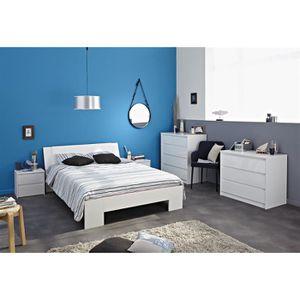 Lit blanc laque 160 achat vente lit blanc laque 160 pas cher les soldes - Ensemble lit 160x200 ...