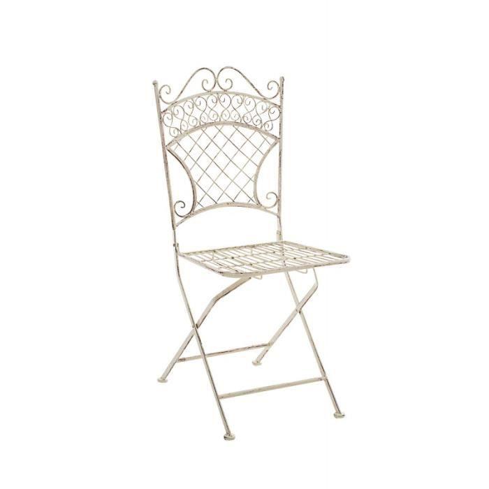 Chaise de jardin pliable en fer forg cr me vieilli - Chaises de jardin en fer ...