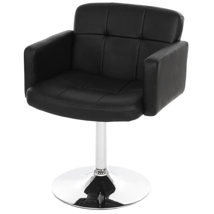 Chaise salon pivotante orlando en simili cuir noir dim for Chaise salon cuir