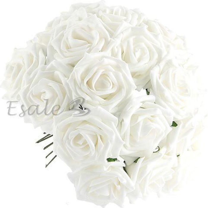 50x blanc fleurs roses artificielle en tissu d co mariage for Fleurs vente