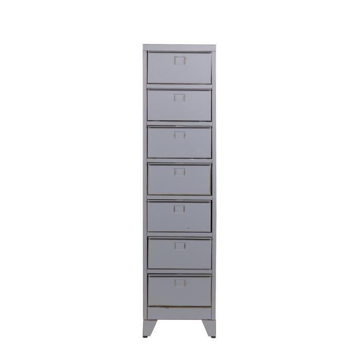 Meuble de rangement m tal 7 tiroirs maxim couleur gris for Petit meuble de rangement tiroir