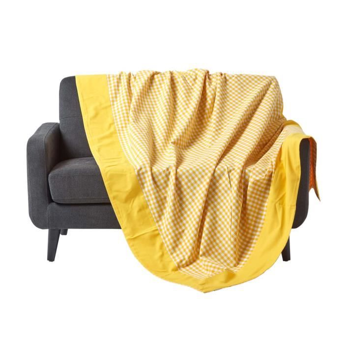 jet de lit ou de canap vichy jaune 150 x 200 cm achat vente jet e de lit boutis. Black Bedroom Furniture Sets. Home Design Ideas