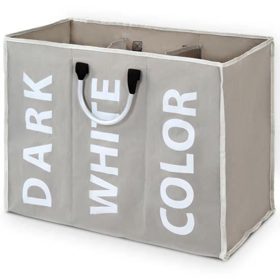 Panier trier le linge avec compartiments en 4 couleurs blanc achat ven - Panier linge 3 compartiments ...