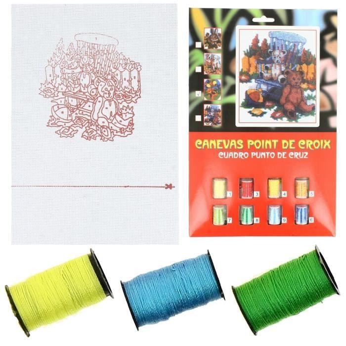 Kit Broderie Canevas Point De Croix Enfant Deux Oursons Adorable Loisir - Achat / Vente kit de ...