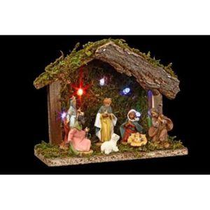 CRÈCHE DE NOËL Crèche de Noël lumineuse avec 7 santons 18x14x8cm