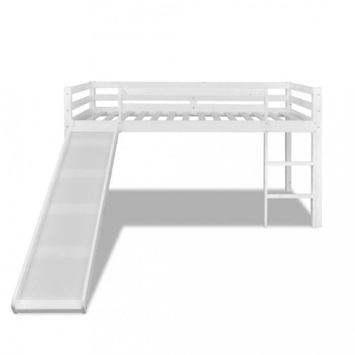 lits de bebe lit mezzanine avec toboggan et echelle en bois blanc achat vente lit mezzanine. Black Bedroom Furniture Sets. Home Design Ideas