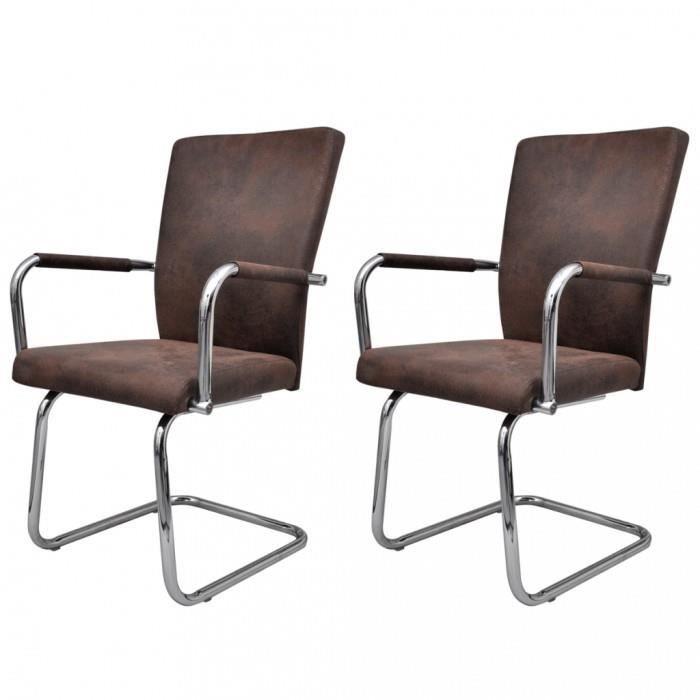 Chaises de cuisine et de salle a manger ensemble de 2 chaises de salle a manger marron achat - Ensemble tafel et chaise salle a trog ...