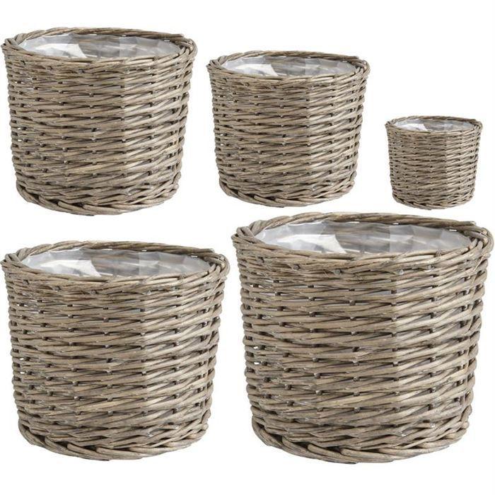 cache pot en osier gris doubl plastique jcp289sp achat. Black Bedroom Furniture Sets. Home Design Ideas