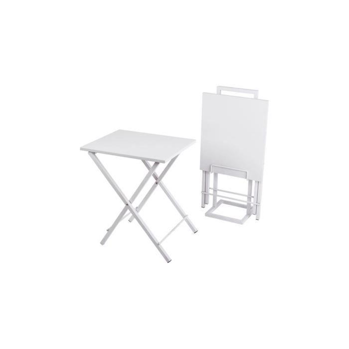 set de 2 tables d 39 appoint pliantes blanc blanc achat vente table d 39 appoint set de 2 tables d. Black Bedroom Furniture Sets. Home Design Ideas