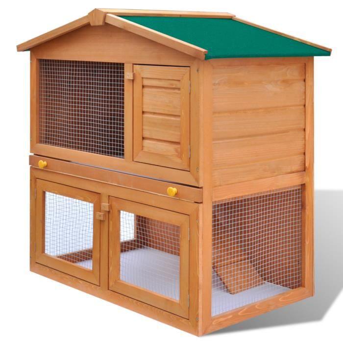 Cage clapier ext rieur en bois pour lapins 3 portes for Cage exterieur pour lapin