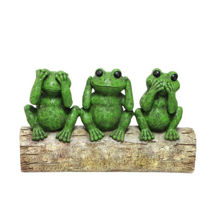 D coration de jardin 39 3 grenouilles sages sur b che - Animaux de jardin decoration ...