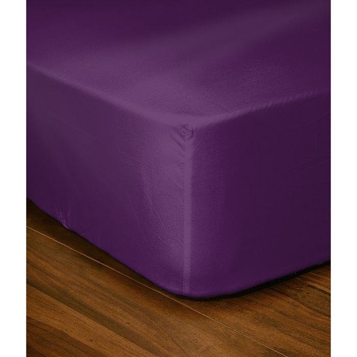 Casatxu drap housse 160x200cm violet achat vente drap - Drap housse 140x190 violet ...