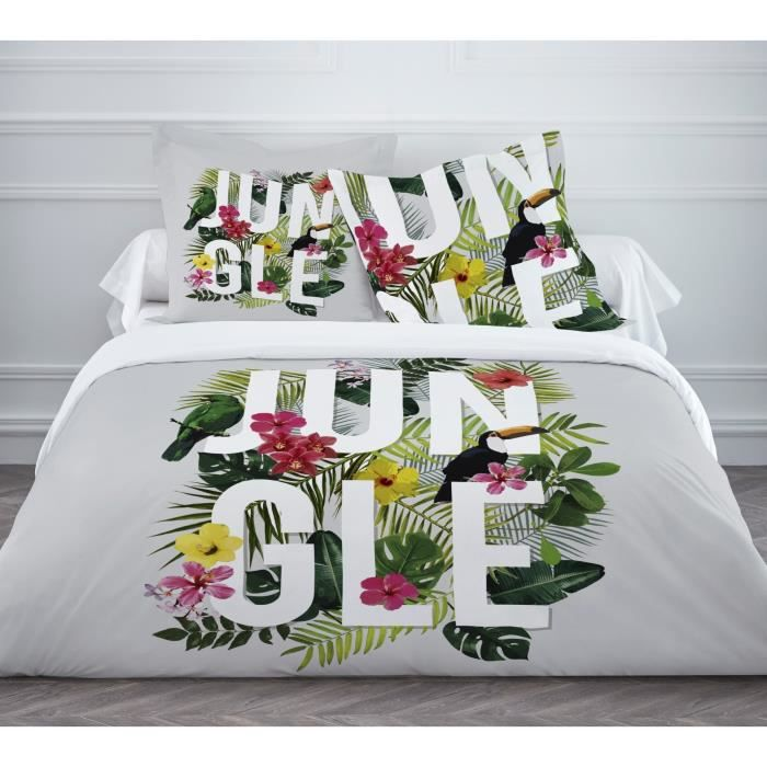 today parure de couette jungle grey 100 coton 1 housse de couette 220x240cm 2 taies d. Black Bedroom Furniture Sets. Home Design Ideas