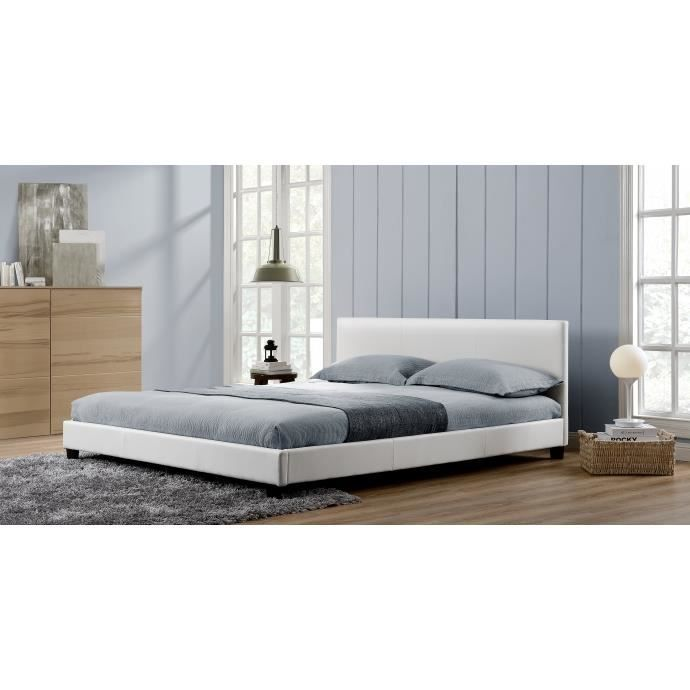 l 39 angelo cadre de lit en simili cuir blanc achat vente structure de lit l 39 angelo cadre. Black Bedroom Furniture Sets. Home Design Ideas