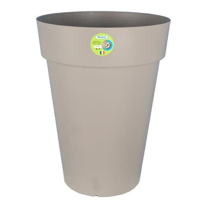 Riviera pot soleilla diam tre 50 x hauteur 66 cm taupe for Jardiniere hauteur 1 metre