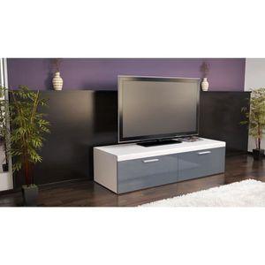 Meubles tv blanc et gris laque achat vente meubles tv for Meuble tv 100 cm blanc laque