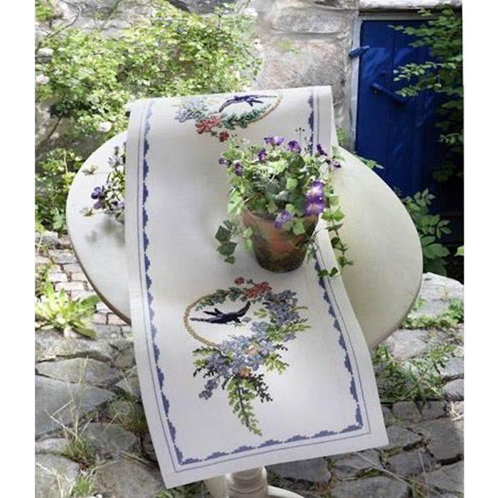 Kit chemin de table broder point de croix o achat - Chemin de table design ...