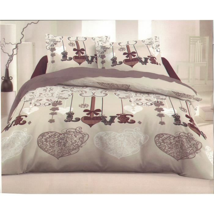 parure de draps 2 personnes 100 coton 140x190 achat vente parure de drap cdiscount. Black Bedroom Furniture Sets. Home Design Ideas