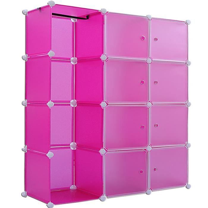 Etag res armoire penderie rose rangement plastique 8 - Armoire rangement plastique ...