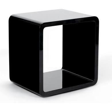 Cube en bois laqu noir pour rangement 45x35x45cm achat vente table d 3 - Cube de rangement noir laque ...