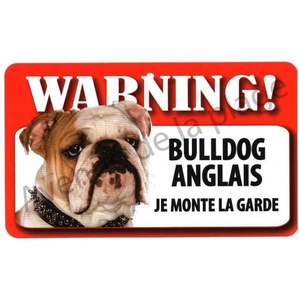 plaque attention au chien bulldog anglais achat vente plaque signal 233 tique plaque