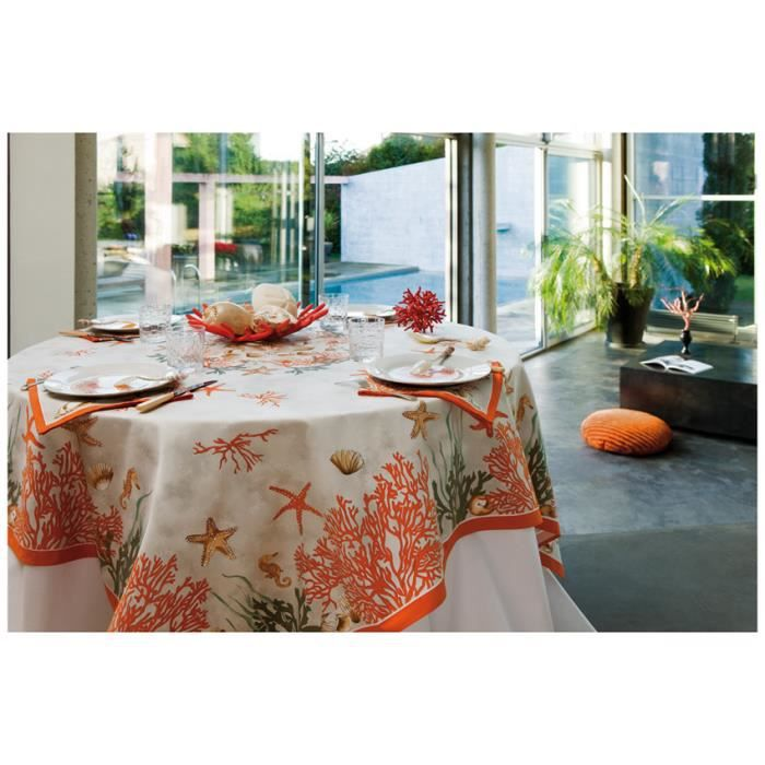 Nappe rectangulaire corail rouge achat vente nappe for Nappe de table rectangulaire