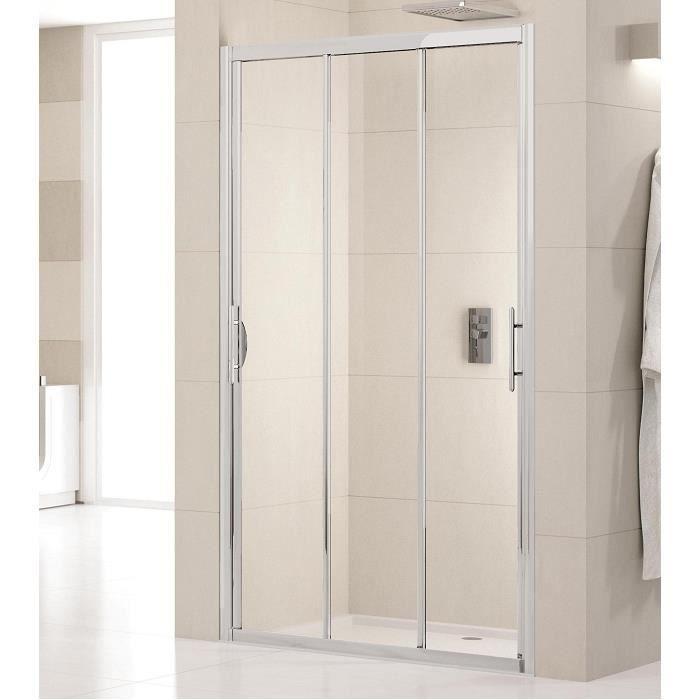 Porte de douche 3 panneaux coulissants lunes p achat for Porte 3 panneaux